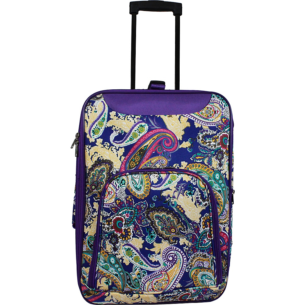 World Traveler 20 Lightweight Carry-on Suitcase Purple Paisley - World Traveler Softside Carry-On - Luggage, Softside Carry-On