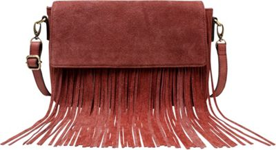 Vicenzo Leather Allyson Suede Leather Fringe Crossbody Handbag Chestnut - Vicenzo Leather Leather Handbags