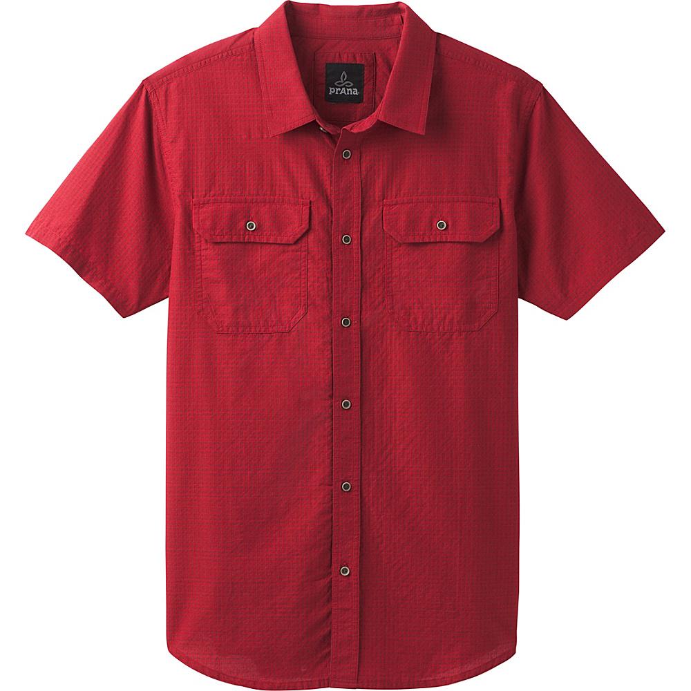 PrAna Blakely Short Sleeve Shirt S - Crimson - PrAna Mens Apparel - Apparel & Footwear, Men's Apparel
