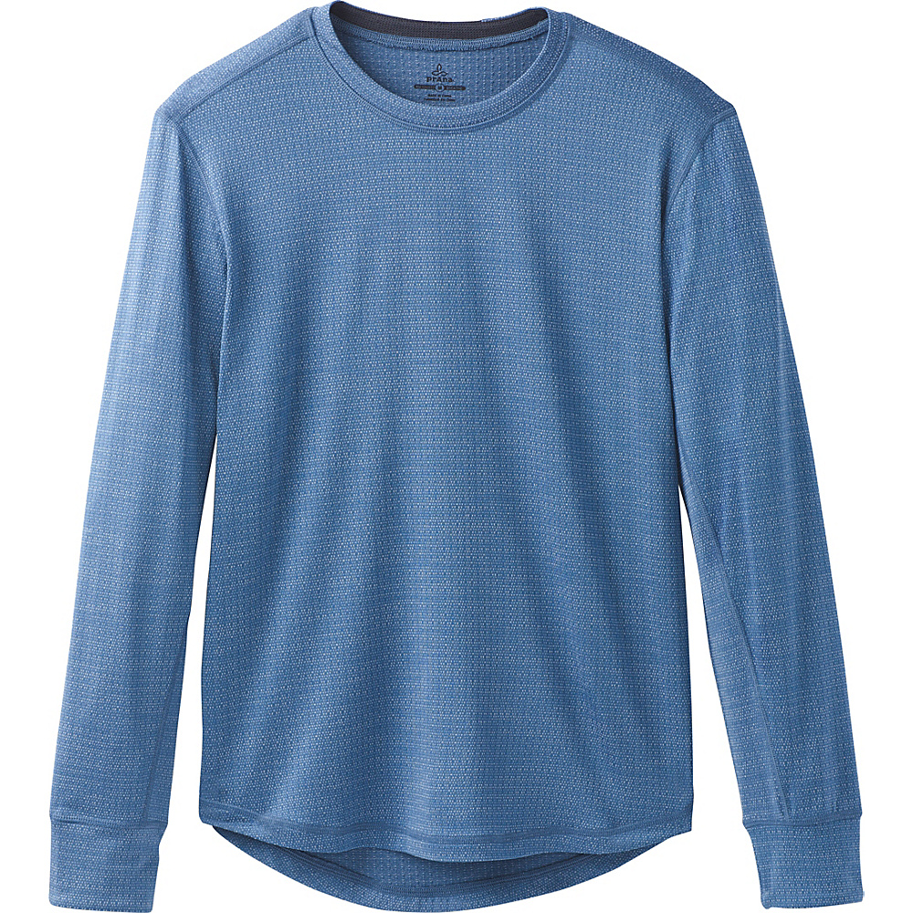 PrAna Pratt Long Sleeve Crew XL - Sunbleached Blue - PrAna Mens Apparel - Apparel & Footwear, Men's Apparel