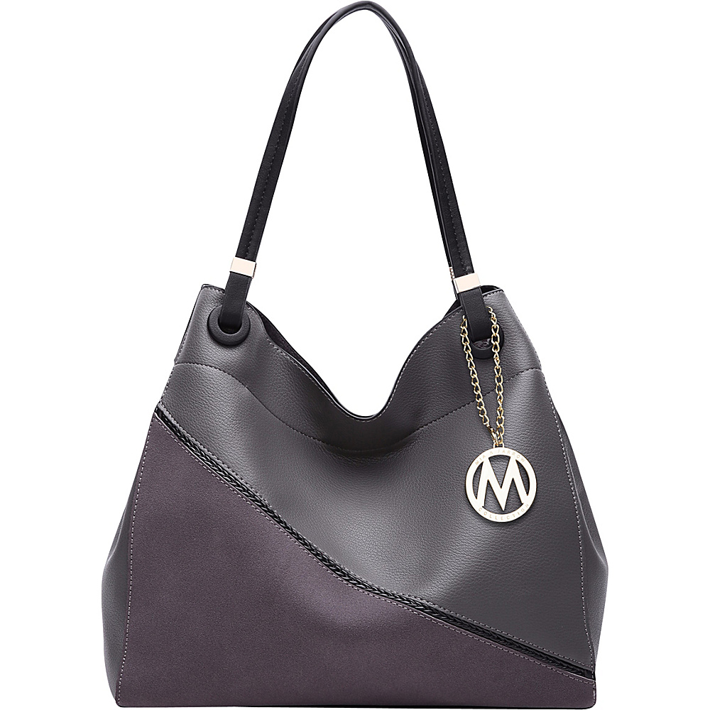 MKF Collection by Mia K. Farrow Camille Two Tone Hobo Dark Grey - MKF Collection by Mia K. Farrow Manmade Handbags - Handbags, Manmade Handbags