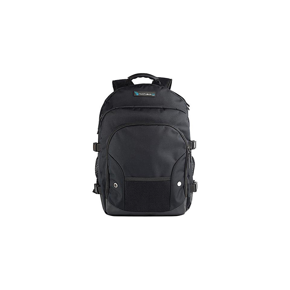 "Techproducts 360 Tech Pack Backpack For 16"" Notebook Black Techproducts 360 Laptop Backpacks"