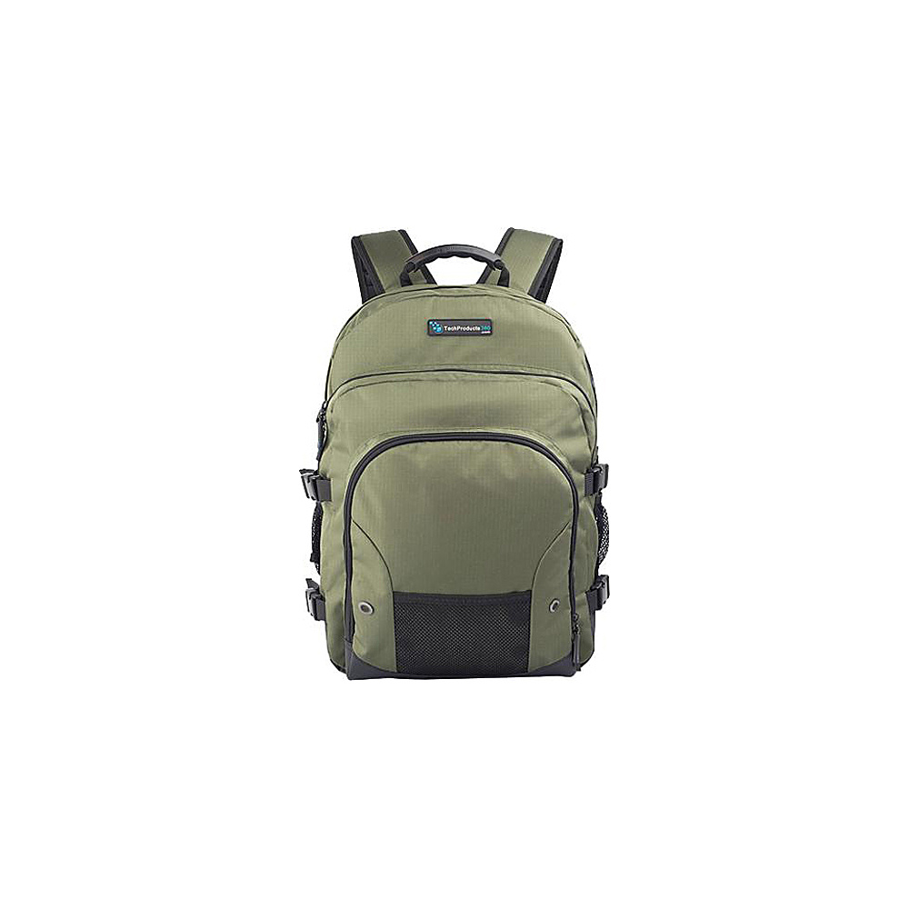 "Techproducts 360 Tech Pack Backpack For 16"" Notebook Green Techproducts 360 Laptop Backpacks"