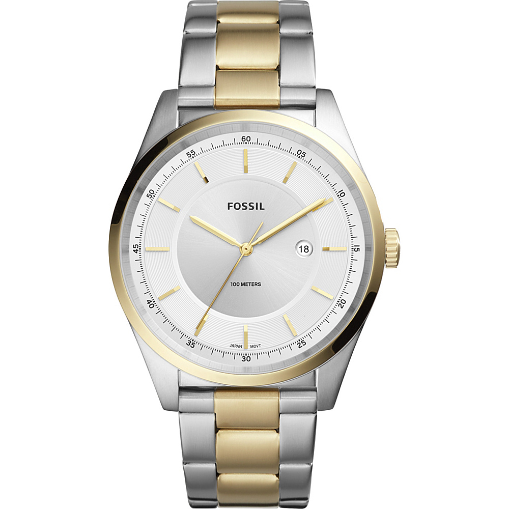Fossil Mathis Three-Hand Date Two-Tone Stainless Steel Watch Gold - Fossil Watches - Fashion Accessories, Watches