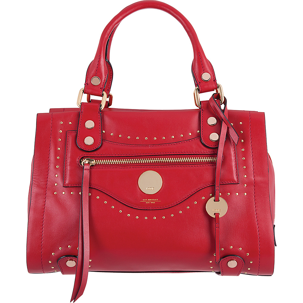 Lodis Pismo Stud RFID Madeline Satchel Red - Lodis Leather Handbags - Handbags, Leather Handbags