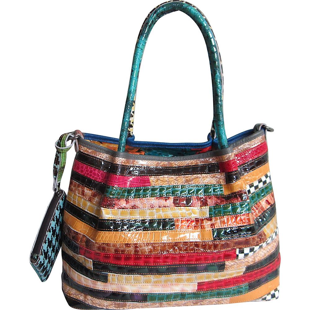 AmeriLeather Everly Animal Print Rainbow Convertible Tote Rainbow - AmeriLeather Leather Handbags - Handbags, Leather Handbags