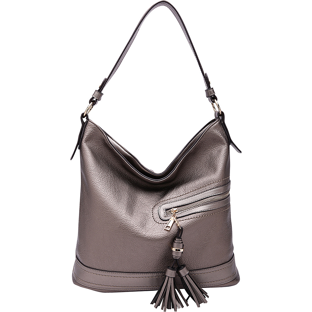 MKF Collection by Mia K. Farrow Elyza Fashion Hobo Pewter - MKF Collection by Mia K. Farrow Manmade Handbags - Handbags, Manmade Handbags