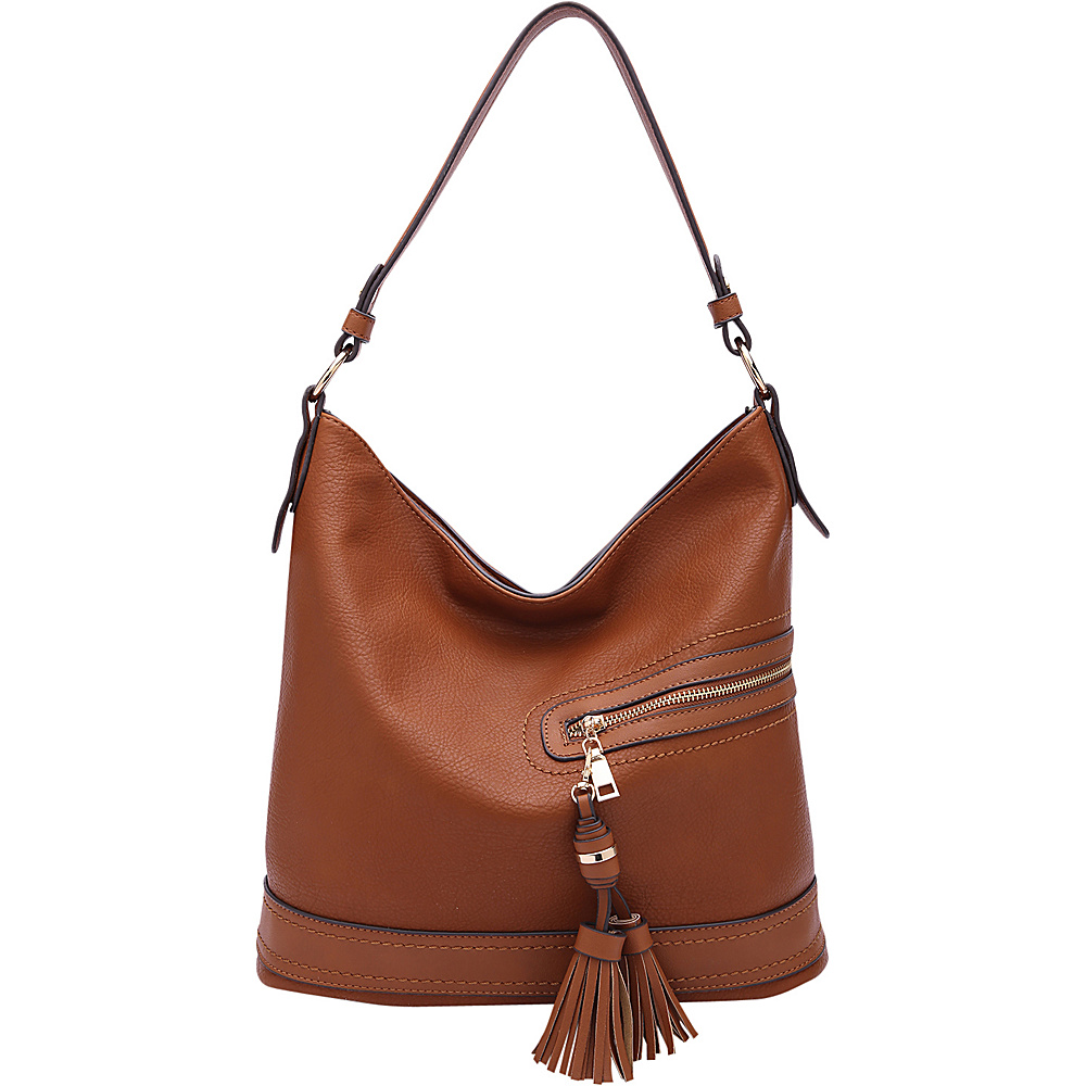 MKF Collection by Mia K. Farrow Elyza Fashion Hobo Cognac Brown - MKF Collection by Mia K. Farrow Manmade Handbags - Handbags, Manmade Handbags