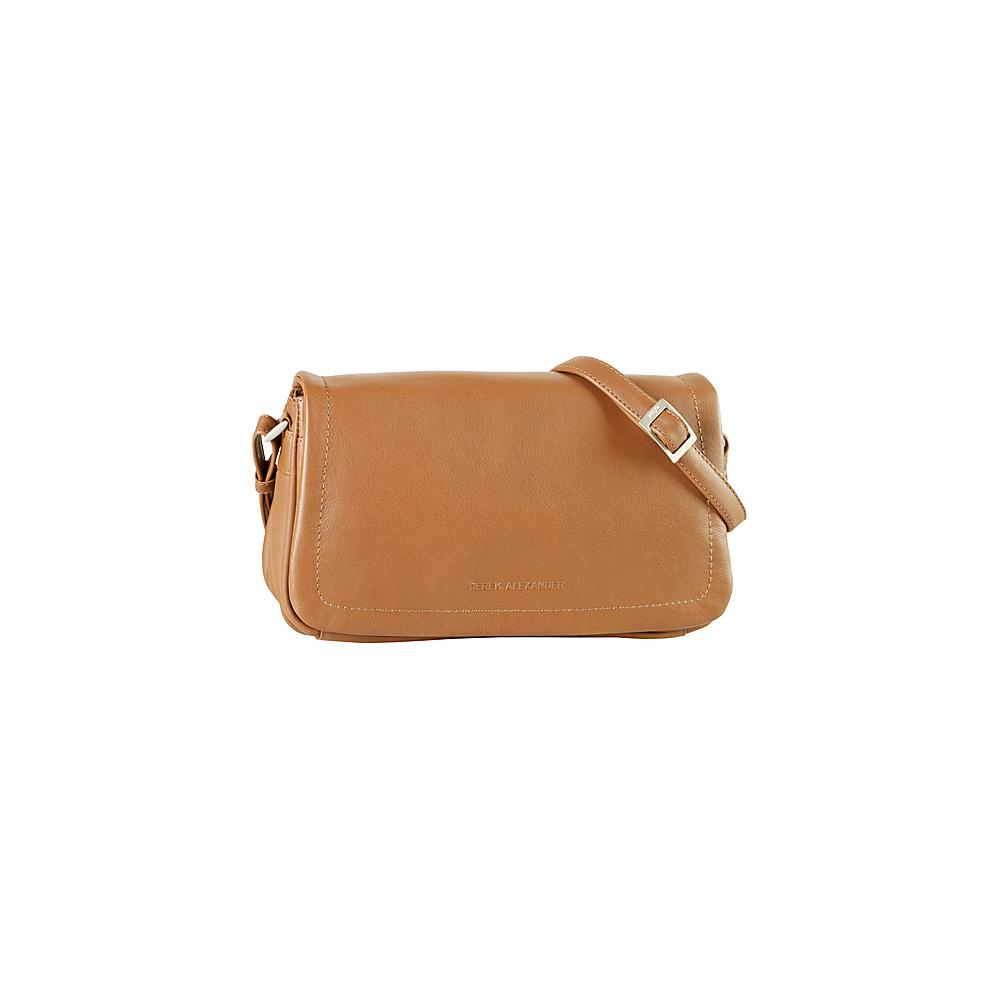 Derek Alexander EW Multi-Compartment Full Flap Shoulder Bag Cognac - Derek Alexander Leather Handbags - Handbags, Leather Handbags