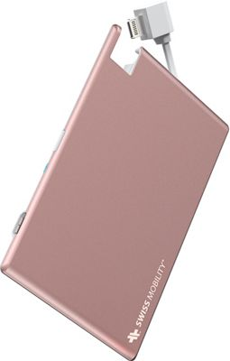Mobility 1350mAh Battery Card Power Pack with Integrated Lightning Cable Rose Gold - Swiss Mobility Portable Batteries & Chargers