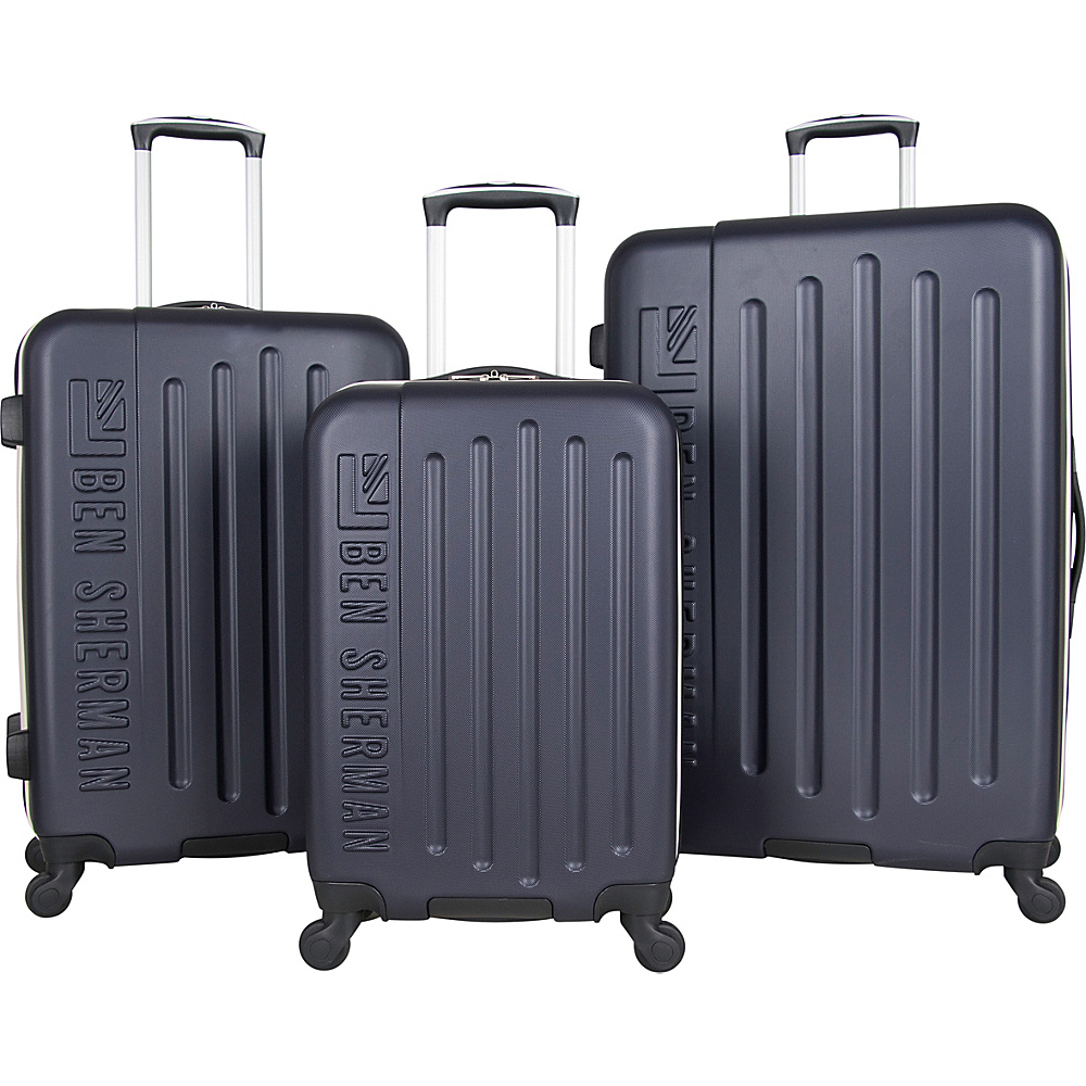77885dec8c Ben Sherman Luggage Leicester 3 Piece Lightweight Hardside Spinner Luggage  Set Navy With White Color Pop