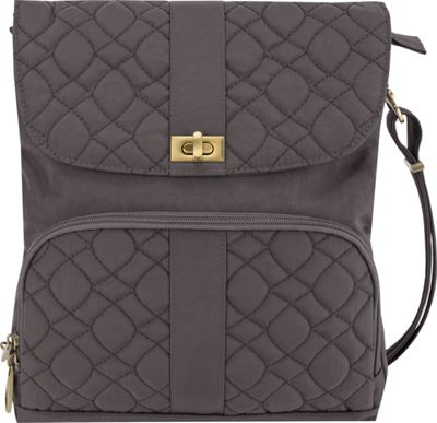 Travelon Anti-Theft Signature Quilted Messenger Bag Smoke/Plum Interior - Travelon Fabric Handbags
