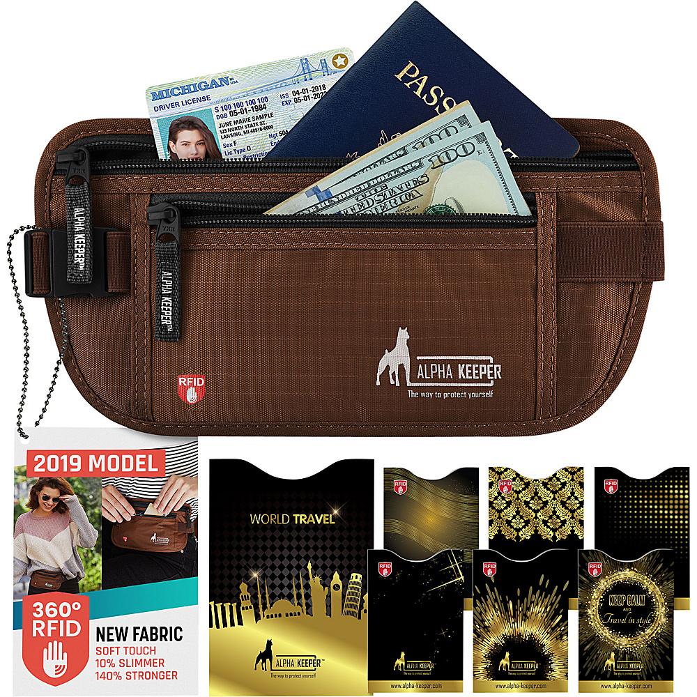 Image of Alpha Keeper RFID Money Belt and RFID Sleeves Set Brown - Alpha Keeper Travel Wallets