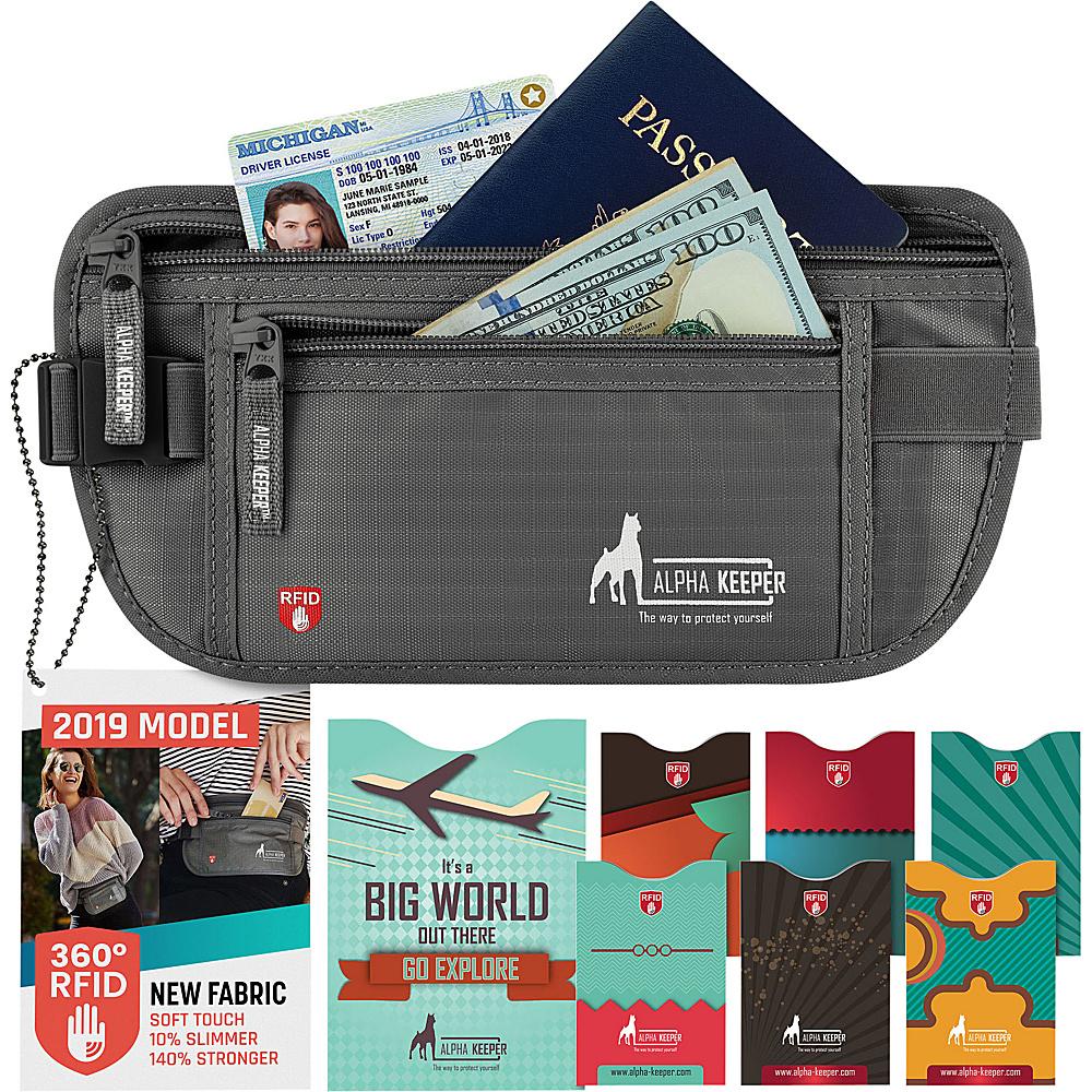 Image of Alpha Keeper RFID Money Belt and RFID Sleeves Set Grey - Alpha Keeper Travel Wallets