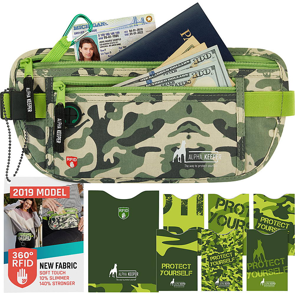 Image of Alpha Keeper RFID Money Belt and RFID Sleeves Set Camo Green - Alpha Keeper Travel Wallets