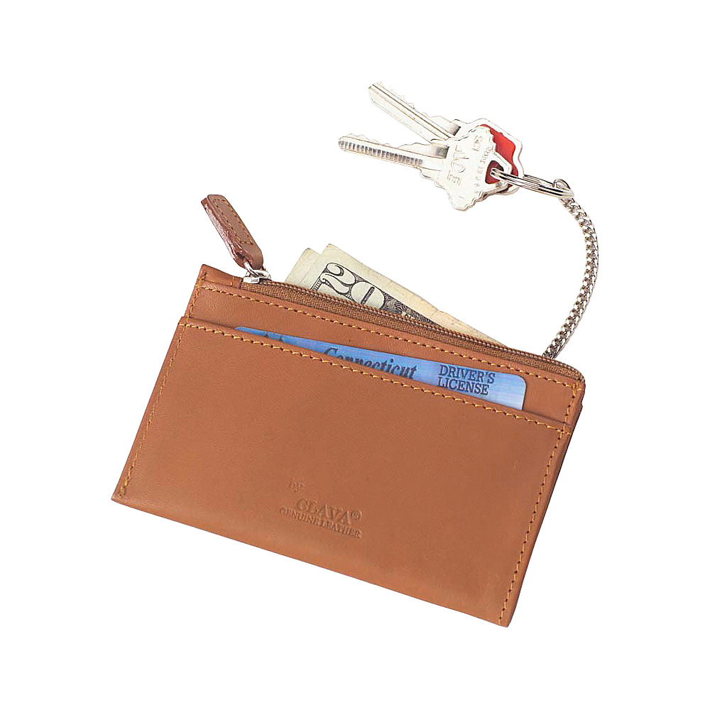 Clava Zip Wallet with Key Chain - Bridle Tan
