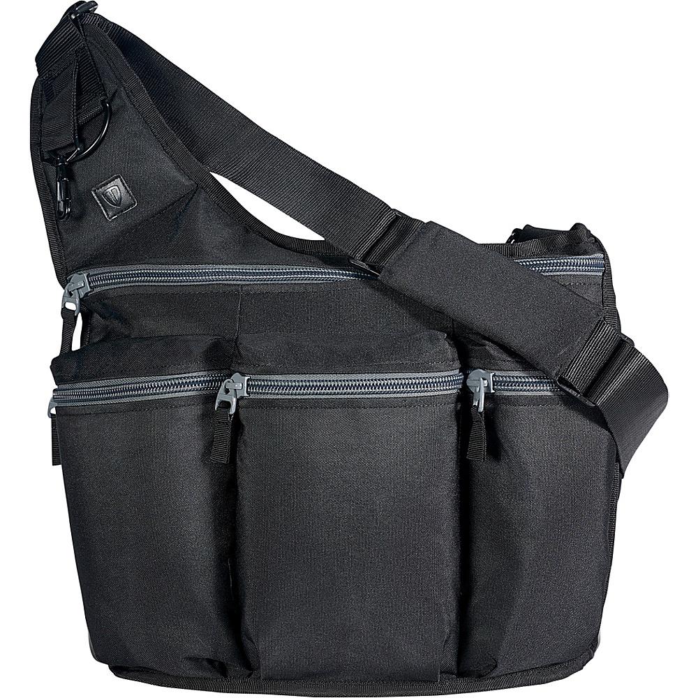 Diaper Dude Black Diaper Bag with Grey Zippers - Black