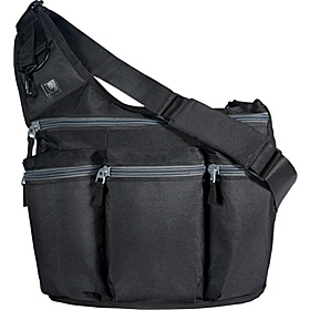Black Diaper Bag with Grey Zippers Black With Gray