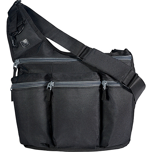 Diaper Dude Black Diaper Bag with Grey Zippers - Black