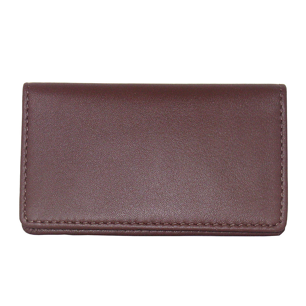 Royce Leather Business Card Case - Burgundy - Work Bags & Briefcases, Business Accessories