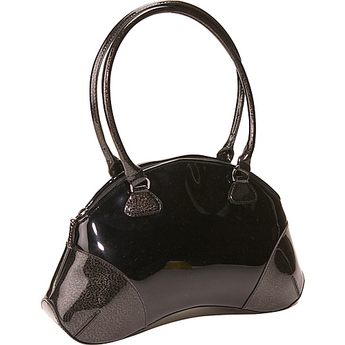 Bisadora Black Patent Bean Bag - Shoulder Bag
