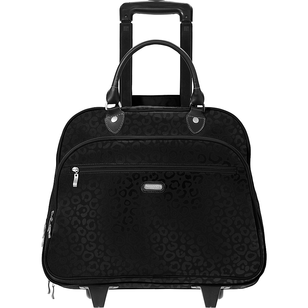 "baggallini Rolling 17"" Tote Black Cheetah Emboss - baggallini Softside Carry-On"