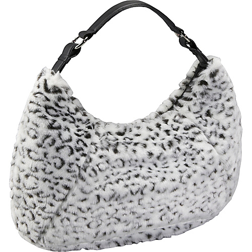 Bisadora Black and White Faux Fur Large Hobo - Shoulder Bag