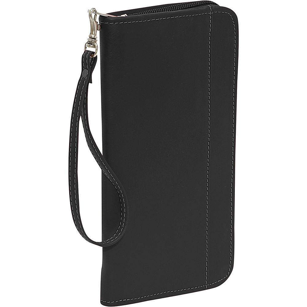 Piel Zippered Passport/Ticket Holder - Black - Travel Accessories, Travel Wallets