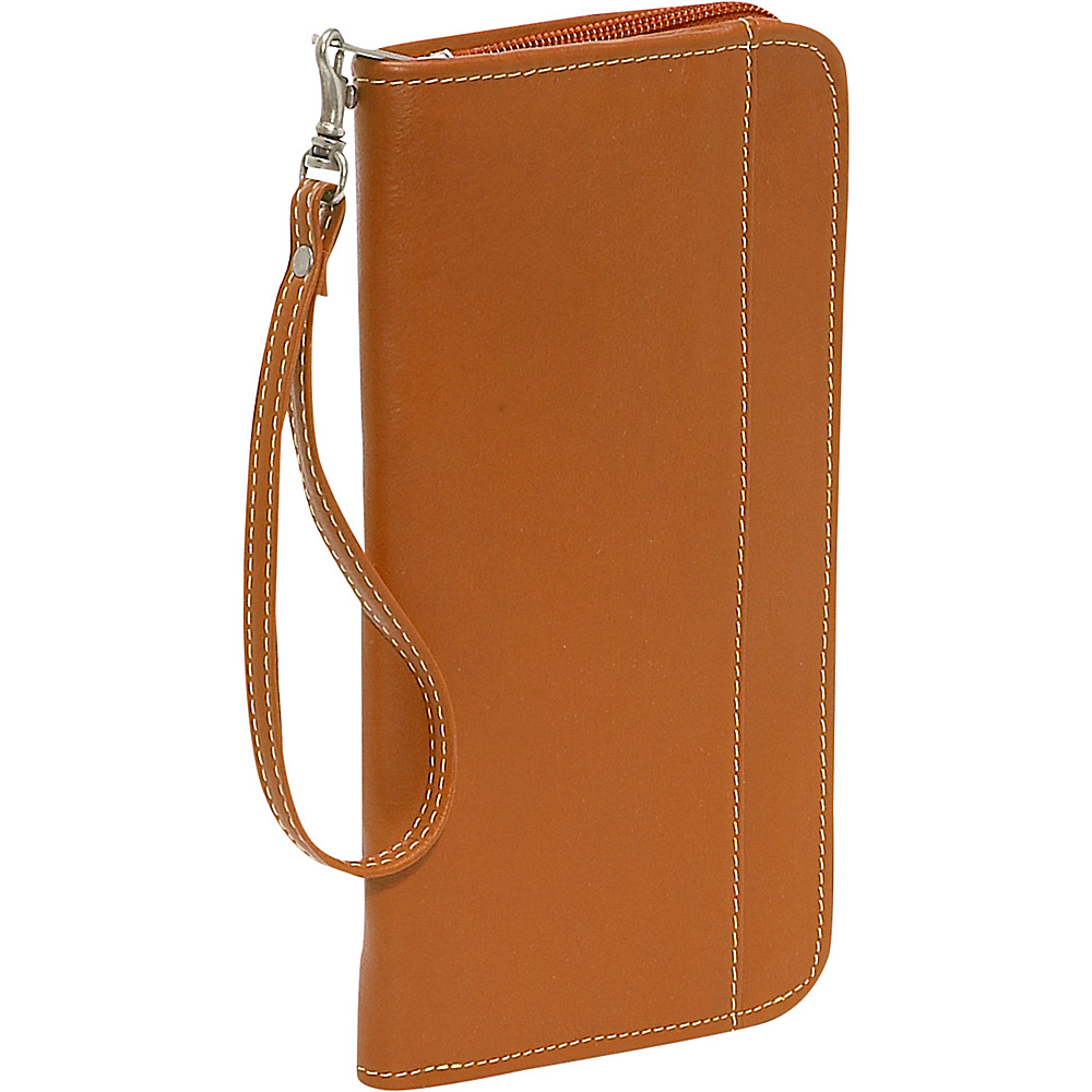 Piel Zippered Passport/Ticket Holder - Saddle - Travel Accessories, Travel Wallets
