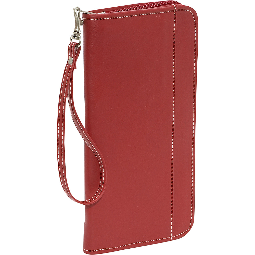 Piel Zippered Passport/Ticket Holder - Red - Travel Accessories, Travel Wallets