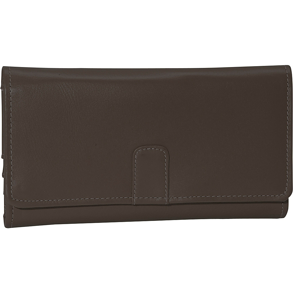 Piel Deluxe Ladies Wallet - Chocolate - Women's SLG, Women's Wallets