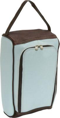 Piel U-Zip Shoe Bag - Pastel Blue/Chocolate