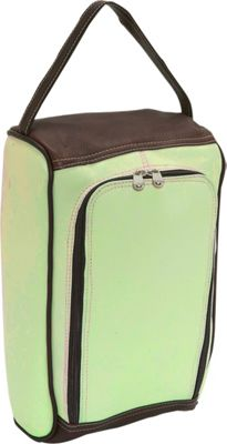 Piel U-Zip Shoe Bag - Pastel Green/Chocolate