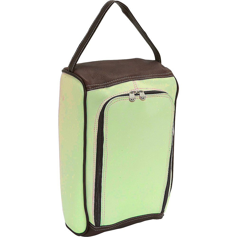 Piel U-Zip Shoe Bag - Pastel Green/Chocolate - Travel Accessories, Travel Organizers