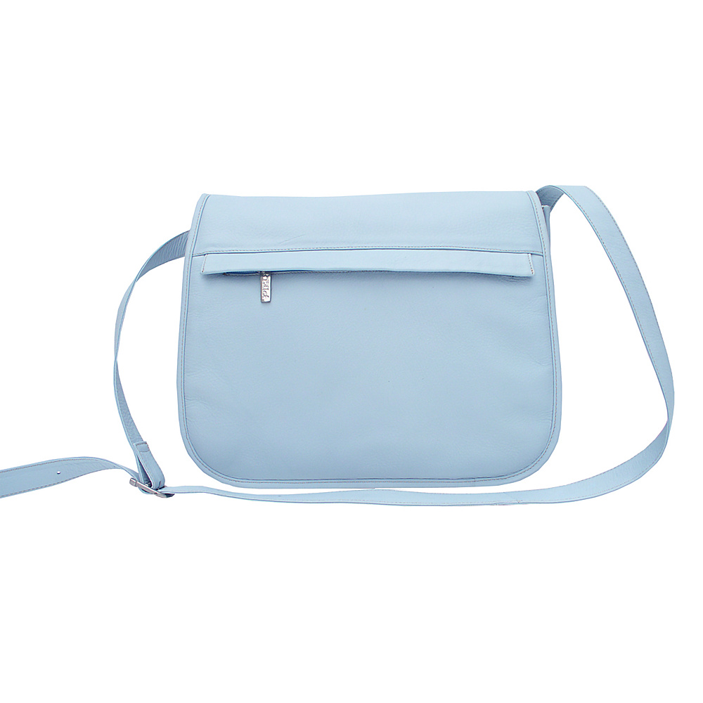 Piel Flap Over Zippered Bag - Pastel Blue - Handbags, Leather Handbags