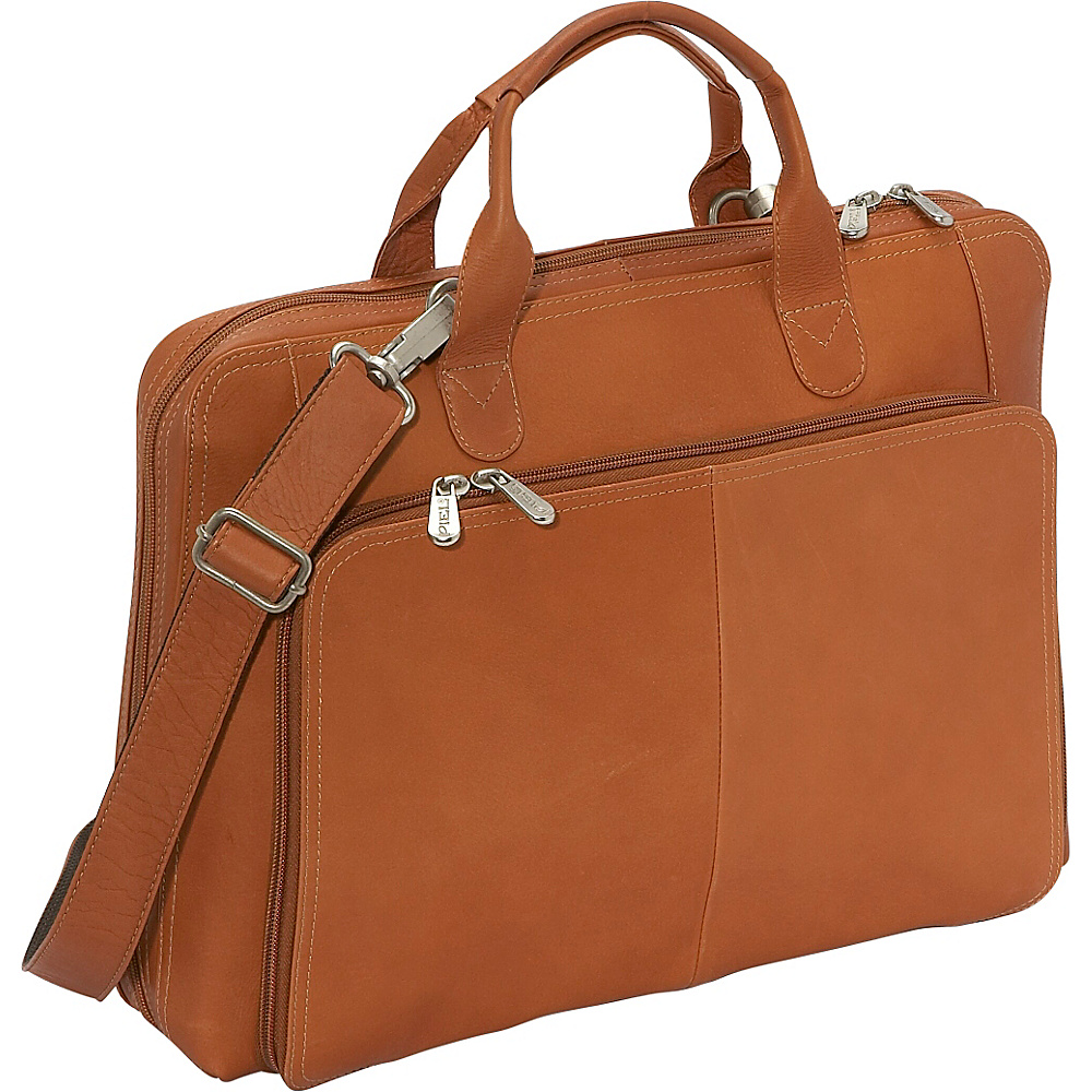 Piel Slim Modern Portfolio - Saddle - Work Bags & Briefcases, Non-Wheeled Business Cases