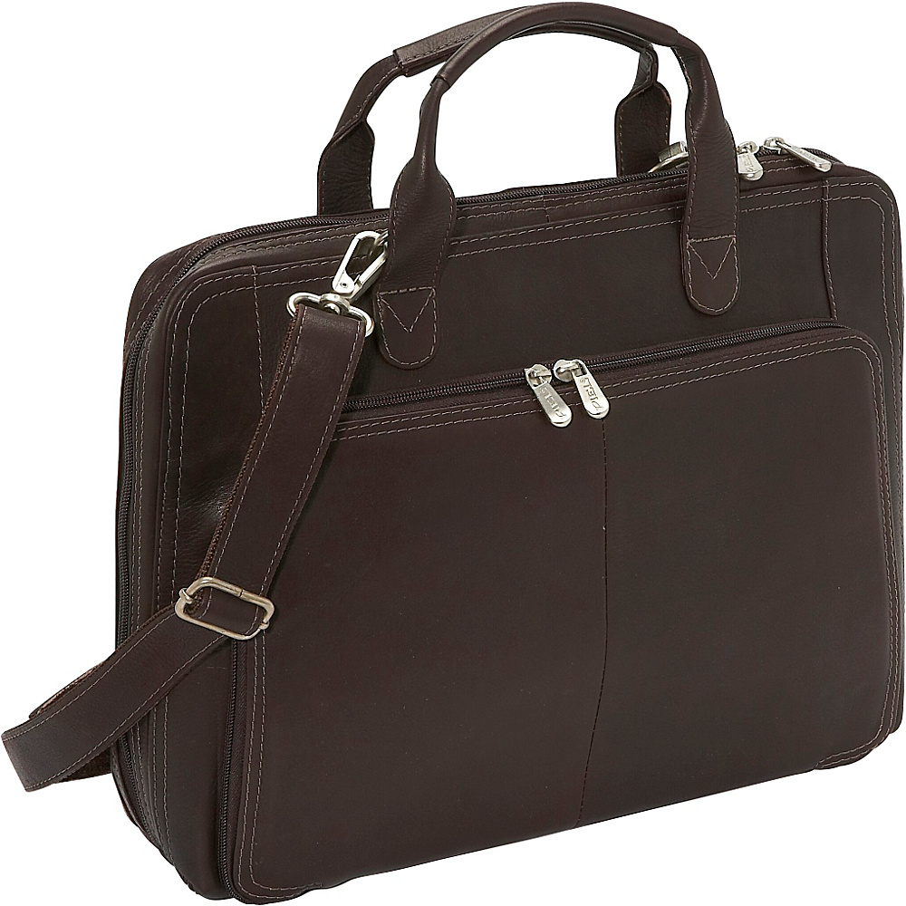 Piel Slim Modern Portfolio Chocolate - Piel Non-Wheeled Business Cases - Work Bags & Briefcases, Non-Wheeled Business Cases