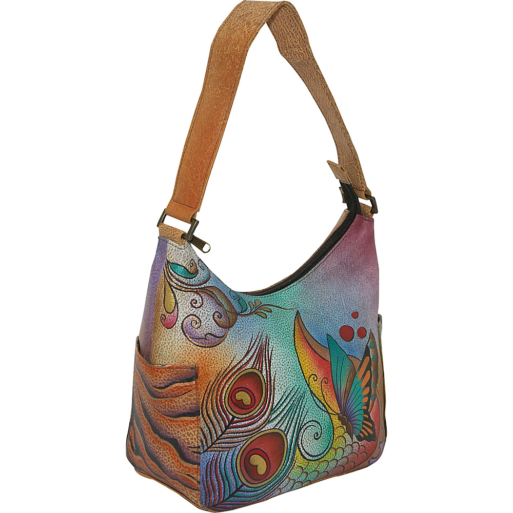Anuschka Hobo with Side Pockets Premium Floral Safari