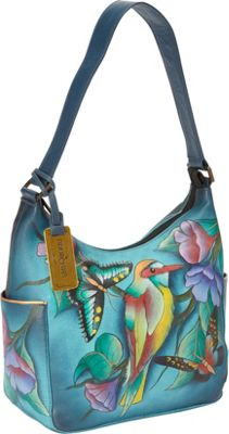 Anuschka Hobo with Side Pockets Hawaiian Twilight - Anuschka Leather Handbags