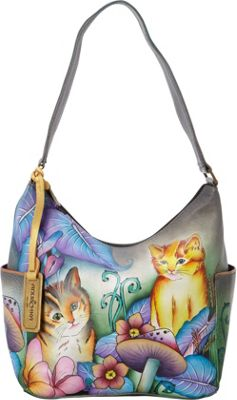 Anuschka Hobo with Side Pockets Cats in Wonderland - Anuschka Leather Handbags