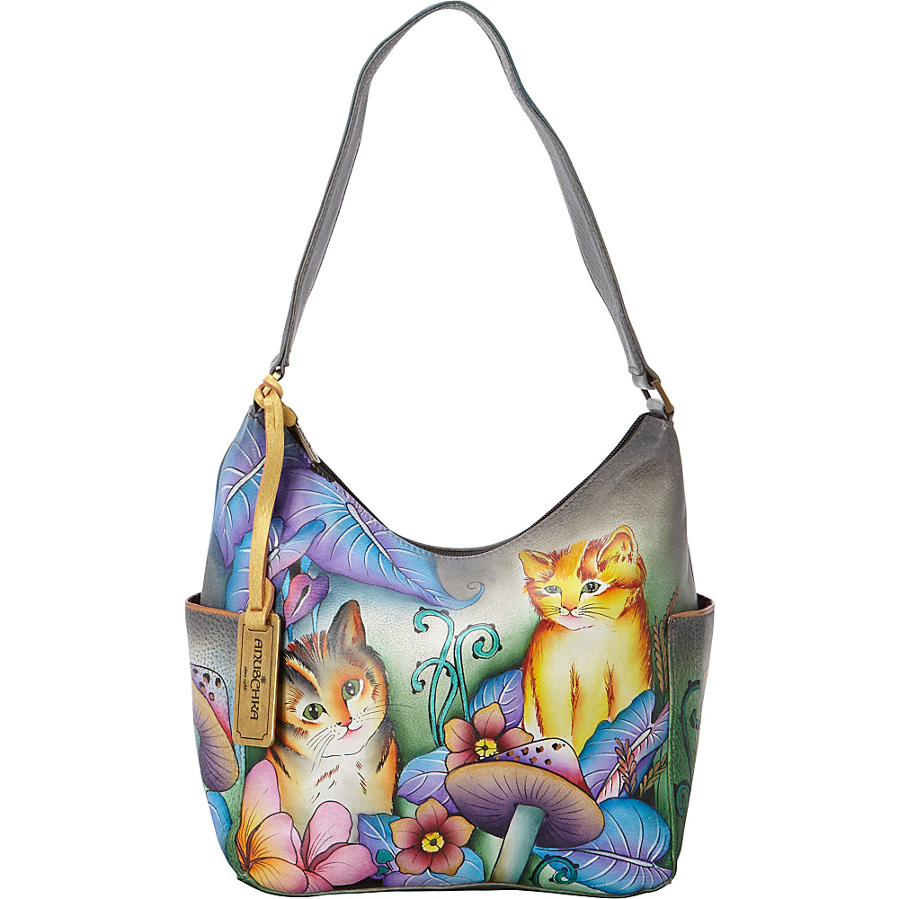 Anuschka Hobo with Side Pockets Cats in Wonderland Anuschka Leather Handbags