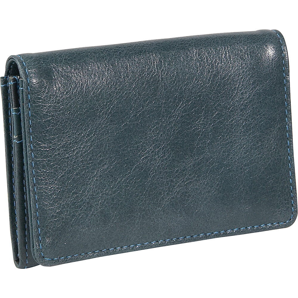 Budd Leather Distressed Leather Credit Card Case Blue