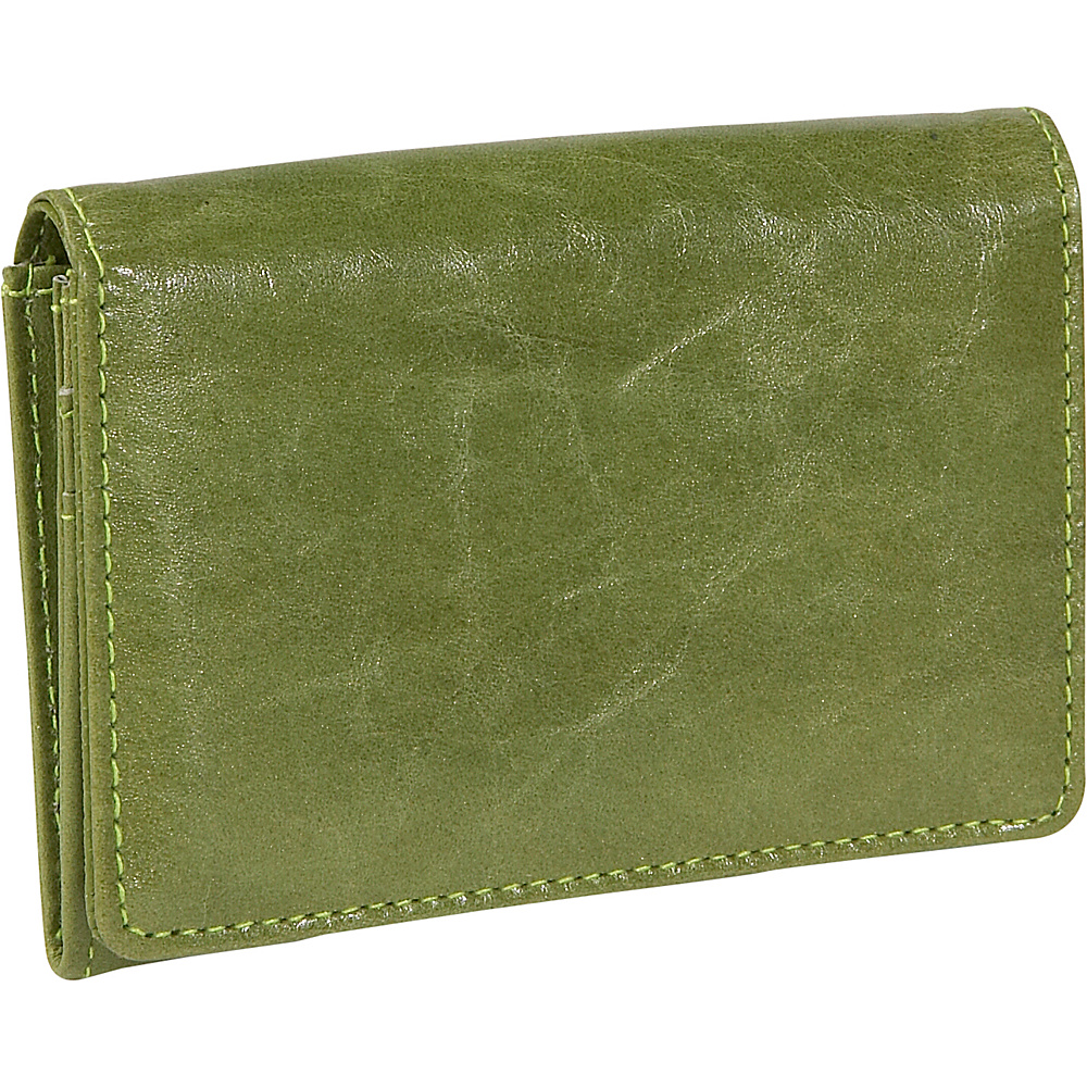 Budd Leather Distressed Leather Credit Card Case Lime