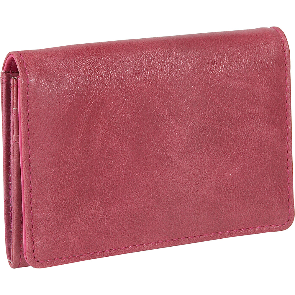 Budd Leather Distressed Leather Credit Card Case Pink