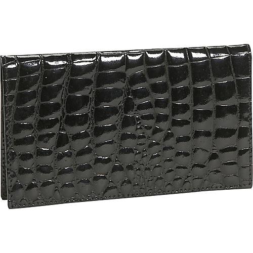 Budd Leather Crocodile Bidente Checkbook Cover - Black