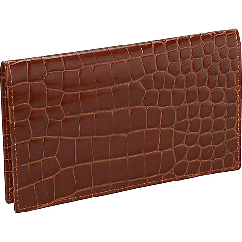Budd Leather Crocodile Bidente Checkbook Cover - Cognac