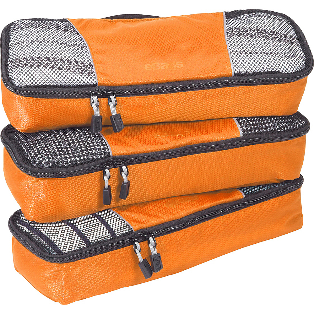 eBags Slim Packing Cubes - 3pc Set - Tangerine - Travel Accessories, Travel Organizers