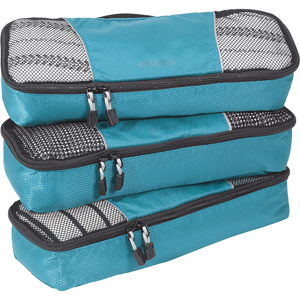 eBags Slim Packing Cubes - 3pc Set - Aquamarine - Travel Accessories, Travel Organizers
