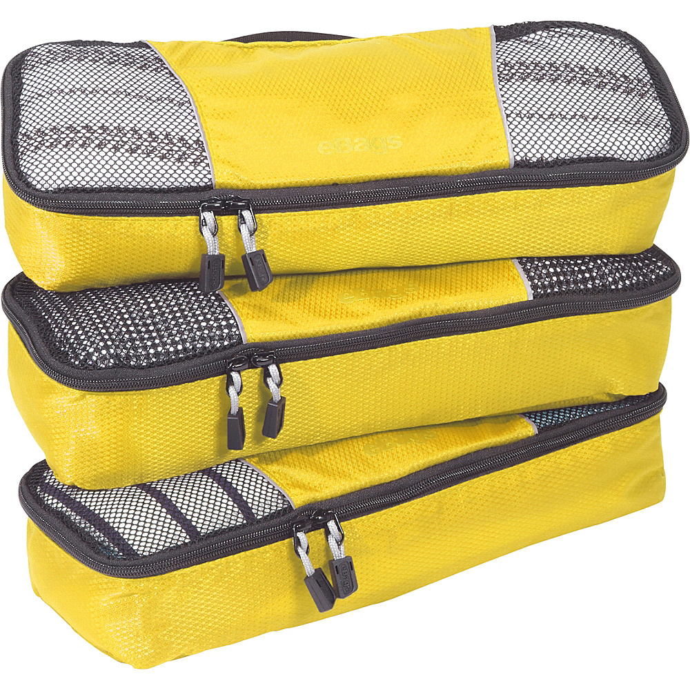 eBags Slim Packing Cubes - 3pc Set - Canary - Travel Accessories, Travel Organizers