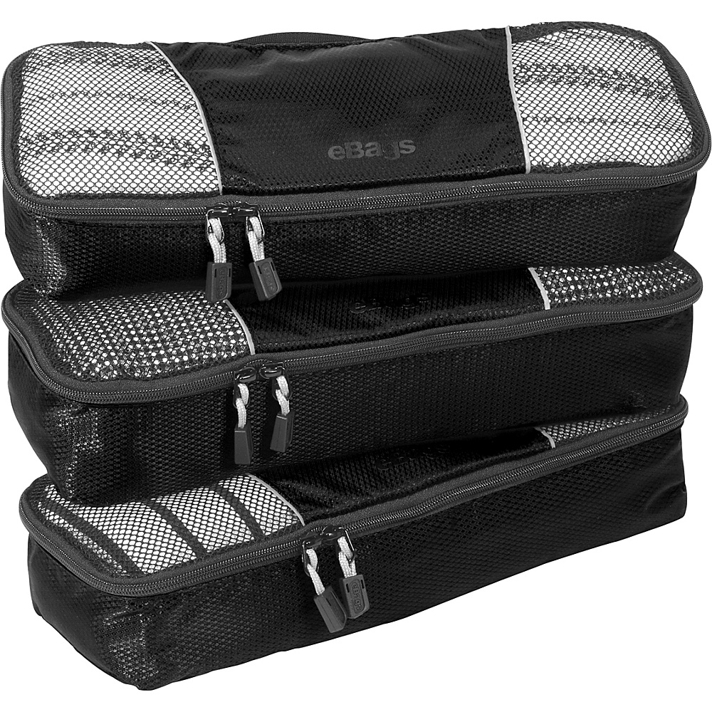 eBags Slim Packing Cubes - 3pc Set - Black - Travel Accessories, Travel Organizers